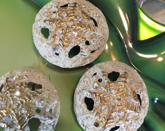 Vintage White Metal Shell and Rhinestone Buttons Set of Three Decorative Buttons