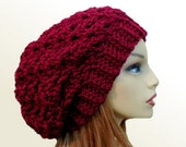 SLOUCHY Hat Crochet Knit Wool Burgundy Claret Wine Slouchy Beanie Slouch Beany Women Hats Green/Blue Accessories Teen Hat