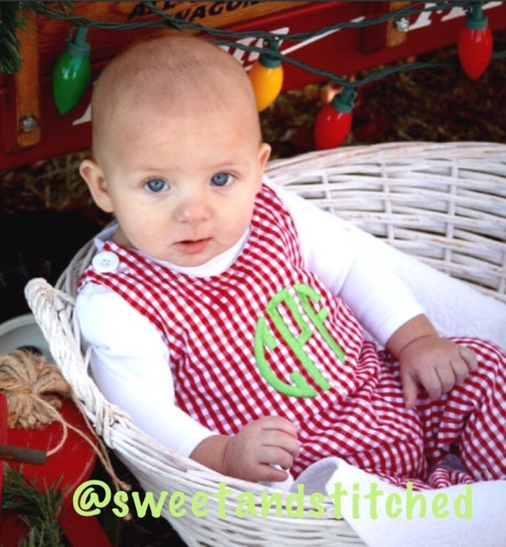 Personalized Baby Boy Christmas longall - red gingham Christmas Jon Jon for boys with green monogram or name