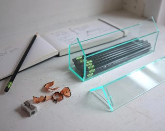 Acrylic house pencil box - green edge glass look acrylic - removable roof - desk organization - simple modern box - glass house storage