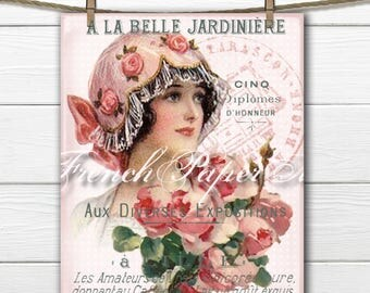 Vintage Digital Shabby Parisian Lady, French Typography, Vintage French Romance, Roses, Pillow Image, Large Transfer Graphic