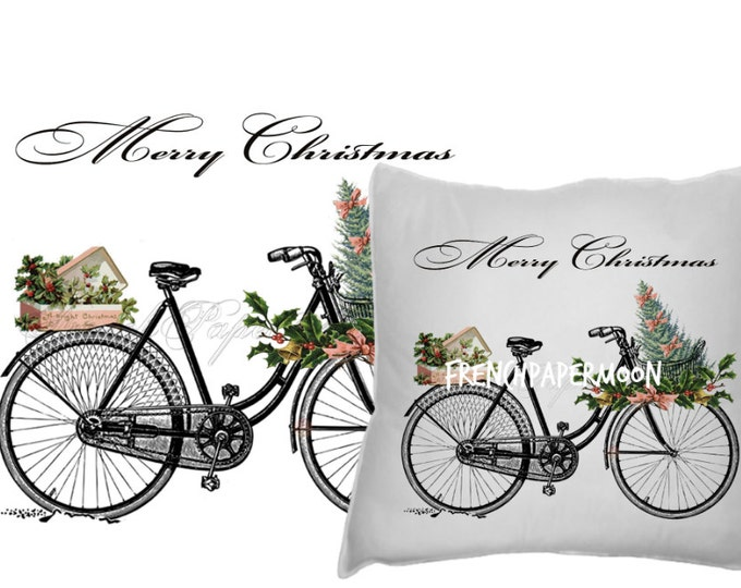 Digital Vintage Christmas Bike with gifts and christmas tree, Shabby Chic Christmas Bike Transfer Graphic, Instant Download