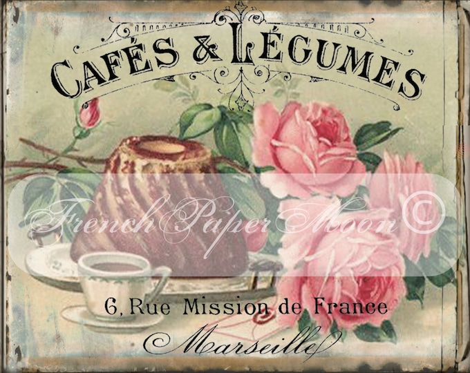 Vintage Digital French Cafe, Shabby Chic Roses, Cake, French Graphics, Instant Download French Pillow Graphic Transfer Image