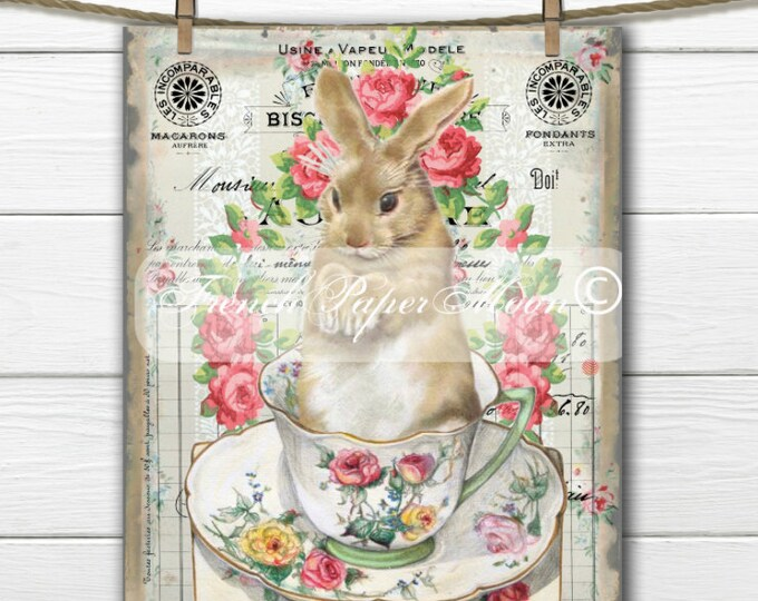 Vintage Shabby Digital Teacup Bunny, French Easter Bunny, French Bunny Pillow Image, Graphic Transfer, Easter Pillow