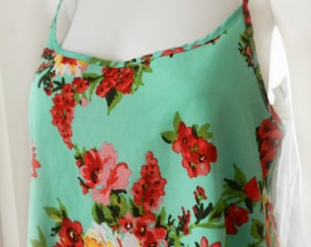 90's Floral Camisole Top, Slip Lingerie, Green, Pink, Red Large Flower Print  Camisole Day/Night Top Size M