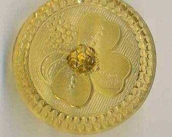 Czech glass button gold shamrock  - size 12, 27 mm FCB 1220