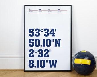 Bolton Wanderers Football Stadium Coordinates Posters