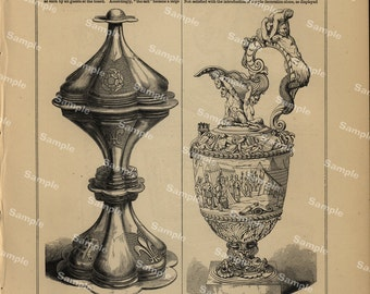 19th century original antique Relics of middle age decorative art print