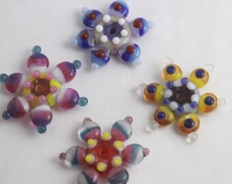 Destash Lampwork Glass Flower Beads. Multi-color