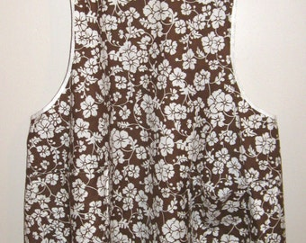 Vintage Full Apron, Brown Background with White Flowers