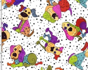 Multi Coloured Dogs Dog Happy On White Background,100% Cotton Fabric