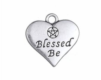 Blessed Be Charm - Silver Pentagram Heart Pendant - DIY Charm - Antique Silver - Jewelry Supplies - Pewter Necklace Charm - Silver Findings