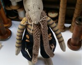 Soft Textile Sculpture : A Yorkshire Mr Mill Mouse ( blue and biscuit stripe No 2)