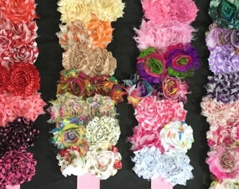 SALE-25, 50 or 100 piece. Pre trimmed shabby chic chiffon flower. We pick print design. Wholesale.Bulk.DIY.headband.girl.projects.