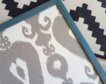 Fabric Magnetic Board Gray and White Ikat Print Large Size READY TO SHIP Teal Framed Magnet Memo Board