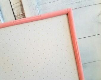 Gold Polka Dot Fabric Bulletin Board READY TO SHIP Coral Framed Cork Board Memo Board Christmas Gift