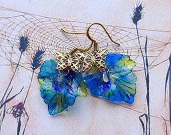 Lucite Flower Earrings, 'Starry Night', Leaf Earrings, Boho Earrings, Dangle Earrings, Blue Earrings, Mother's Day Gift, Butterfly Earrings
