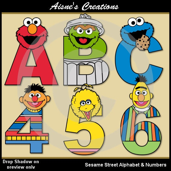 Sesame Street Alphabet Letters & Numbers Clip Art Graphics
