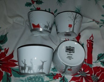 222 Fifth Red Sleigh Set of 4 Bowls