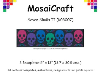 MosaiCraft Pixel Craft Mosaic Art Kit 'Seven Skulls II' (Like Mini Mosaic and Paint by Numbers)