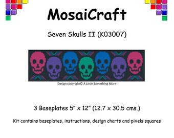 MosaiCraft Pixel Craft Mosaic Art Kit 'Seven Skulls II' (Like Mini Mosaic and Paint by Numbers)