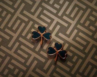 Heart shaped Four Leaf Clover Stud Earrings!