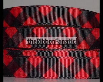 "5 yds 5/8""  Red and Black Buffalo Plaid Check Lumberjack Grosgrain Ribbon"