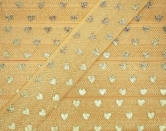 5/8 OLD GOLD with Gold Polka Hearts Fold Over Elastic
