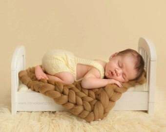 Brown Weave Baby Blanket Photography Prop