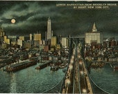 Lower Manhattan Skyline from Brooklyn Bridge Tower by Night NYC New York City 1910s Vintage Postcard (unused)
