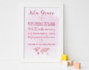 Birth announcement - birth announcement wall art - birth stats wall art - new baby gift - new baby girl - baby girl gift - christening gift