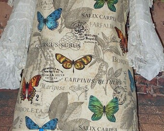Handmade One of a Kind Womens BUTTERFLIES KITCHEN APRON with Pockets