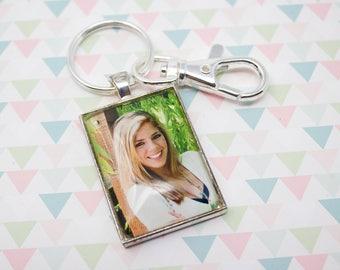 Custom Photo Keychain - Photo Key Chain - Silver Keychain - Photo Keyring - Personalized Photo Keychain - 25 x 35 mm Rectangle