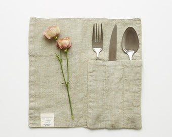 Set of 2 Sage Linen Cutlery Pocket