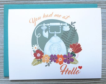 You Had Me At Hello, Romantic Greeting Card, Anniversary Card, Relationship Card, I Love You Card, Romantic Card, Animal Charm Shop