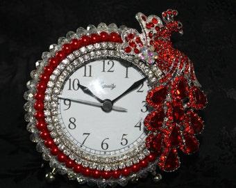 "Red Crystal, Pearl, and Rhinestone Peacock Alarm Clock ""ROYAL PEACOCK"""