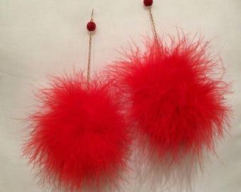 Feather Earrings - Red Feather Pom Pom Earrings