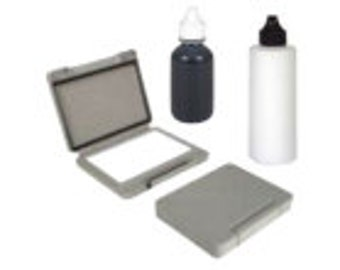 Ink Kit for stamping permanent products, water proof, weather proof and scratch resistant. Includes ink pad, ink and activator.
