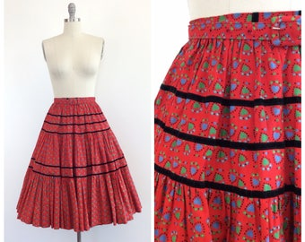 50s Red Heart Print Patio Skirt / 1950s Vintage High Waisted Novelty Print Full Circle Skirt / Small / 24 inch waist
