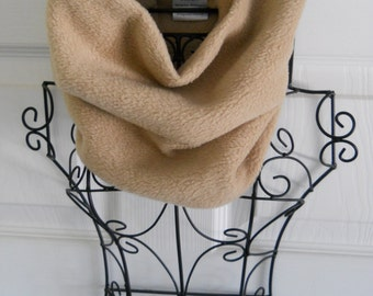 Gold Fleece Gaiter /  Tan Fleece Neck Warmer / Cozy Cowl