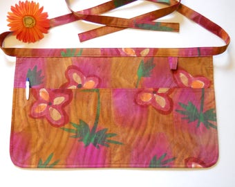 Batik Flower Server Apron / Four Pocket Utility Apron