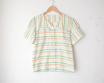 striped button down shirt with pockets 80s // M