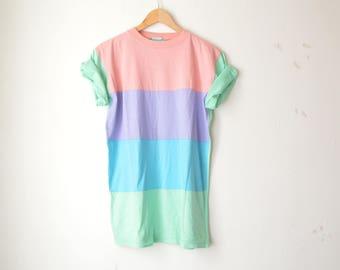 pastel striped raglan vintage tshirt 70s // M
