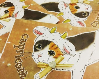 Capricorn Cat zodiac sign + lucky color cards Greeting Card (5x7 size) Capricorn, CAT ASTROLOGY, zodiac sign cards, Calico cat