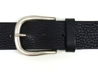 Black leather belt women jeans belt with jeans buckle old silver