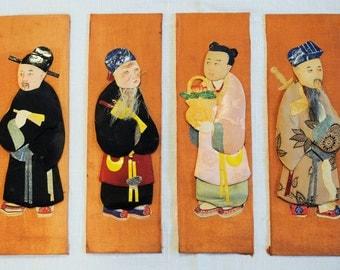 Vintage Set of 4 3-D Japanese Figures on Silk