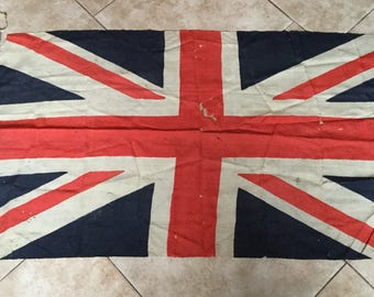 Antique 1930's Old Linen Union Jack Flag