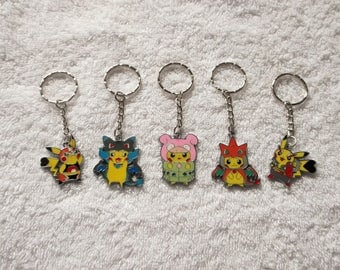 Set of 5 Handmade POKEMON PIKACHU Inspired Keyrings Handbag Charm Keychain Cosplay