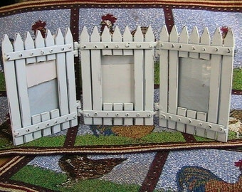 Photo Frame, Triple Photo Frame, Metal Picket Fence Trio Photo Frame with Glass Inserts