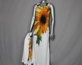 SunFlower Power Carole Little Vintage 2pc Maxi Dress Spring Summer Fall Wear